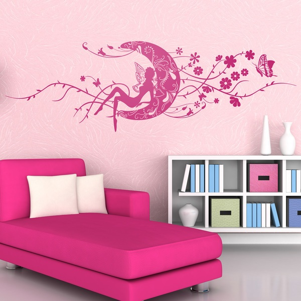 Vinilo decorativo hada erzulie en la luna floral y mariposas for Stickers decorativos para dormitorios