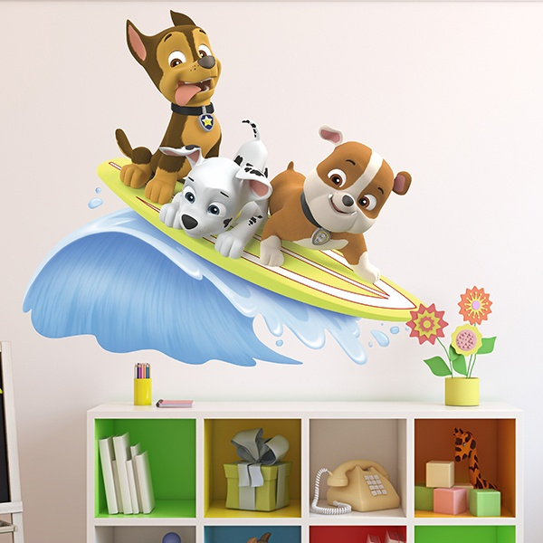Vinilos Infantiles: Patrulla Canina - Chase, Marshall y Rubble surfean