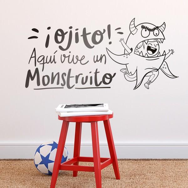 Vinilos Infantiles: ¡Ojito! Aquí vive un Monstruito