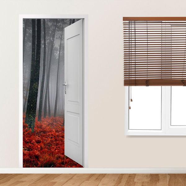 Vinilo decorativo puerta abierta de un bosque en oto o - Puertas con vinilo ...