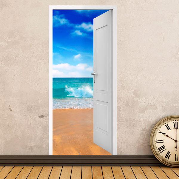 Vinilos Decorativos: Puerta abierta playa y cielo