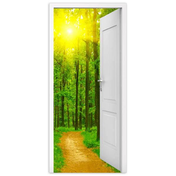 Vinilo decorativo de puerta abierta a un camino y a un bosque for Vinilo puerta habitacion
