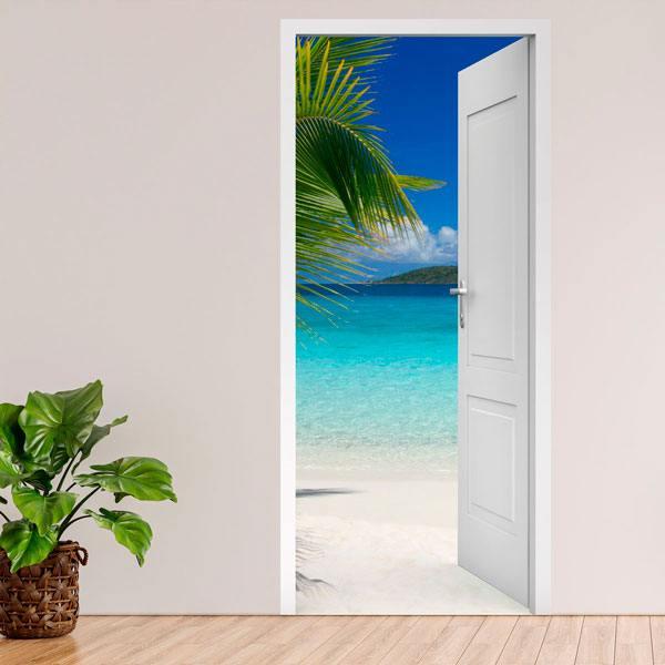 Vinilos Decorativos: Puerta abierta palmera y playa