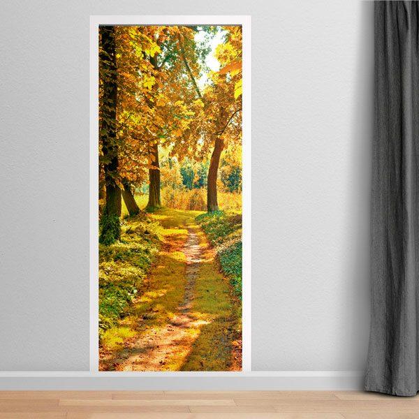 Vinilos Decorativos: Puerta camino bosque en otoño