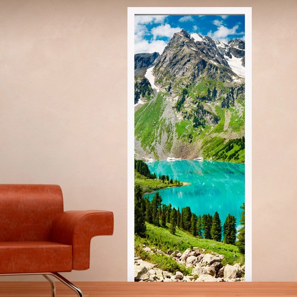 Vinilos Decorativos: Puerta montaña y lago
