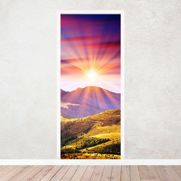 Vinilos Decorativos: Puerta montaña y puesta de sol