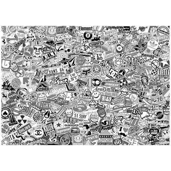 Pegatinas: Stickerbomb XL blanco y negro