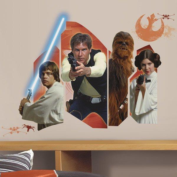 Vinilos Decorativos: Star Wars Luke Solo Chewie y Leia
