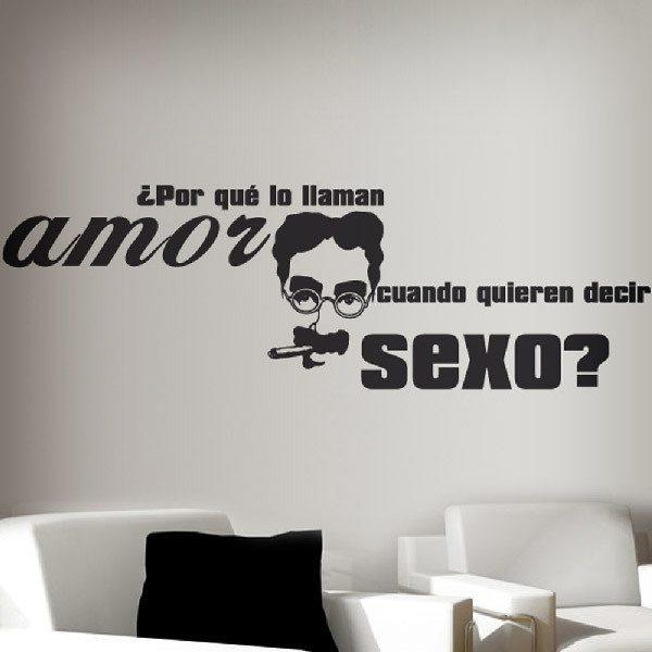 Vinilo decorativo amor sexo for Vinilos pared frases