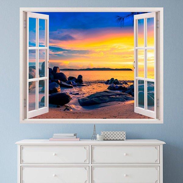 Vinilos Decorativos: Puesta de sol en la playa 2