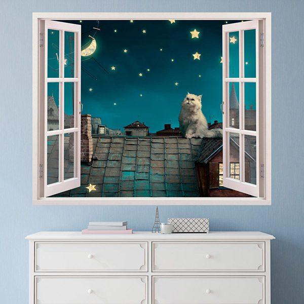 Vinilos Decorativos: Un gato en el tejado