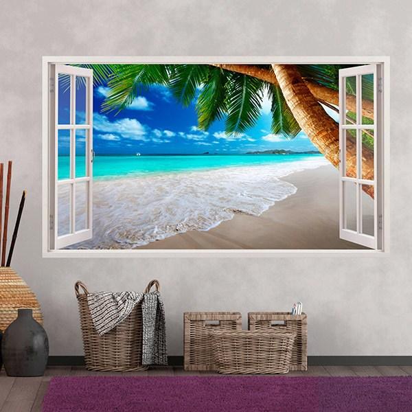 Vinilos Decorativos: Panorámica palmera en la playa 3