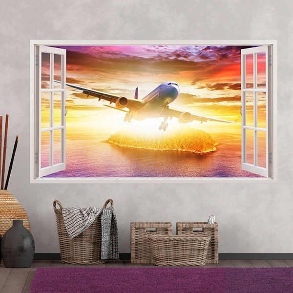 Vinilos Decorativos: Panorámica avión comercial 2