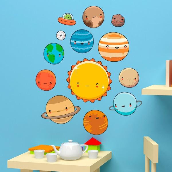 Vinilo infantil kit planetas del espacio for Stickers de pared infantiles