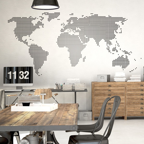 Vinilo mapamundi punteado for Vinilos decorativos para oficinas