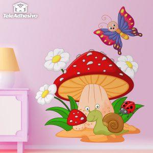 vinilos-infantiles-seta-margaritas-caracol-y-mariposa