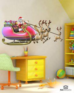 vinilos-decorativos-papa-noel-en-su-trineo-cargado-de-regalos