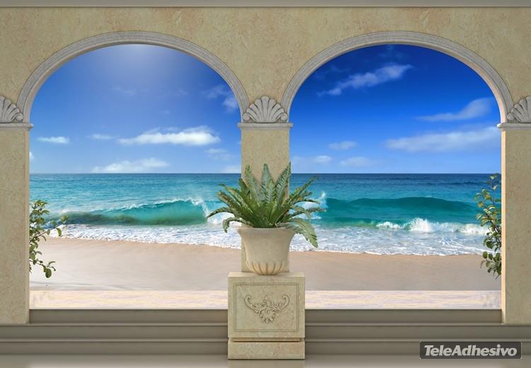 Vinilo adhesivo con la imagen de una playa paradisíaca ideal para usarse como photocall de bodas.