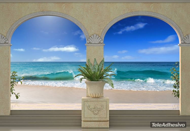 Vinilo decorativo con la imagen de un trampantojo que muestra una playa paradisíaca.