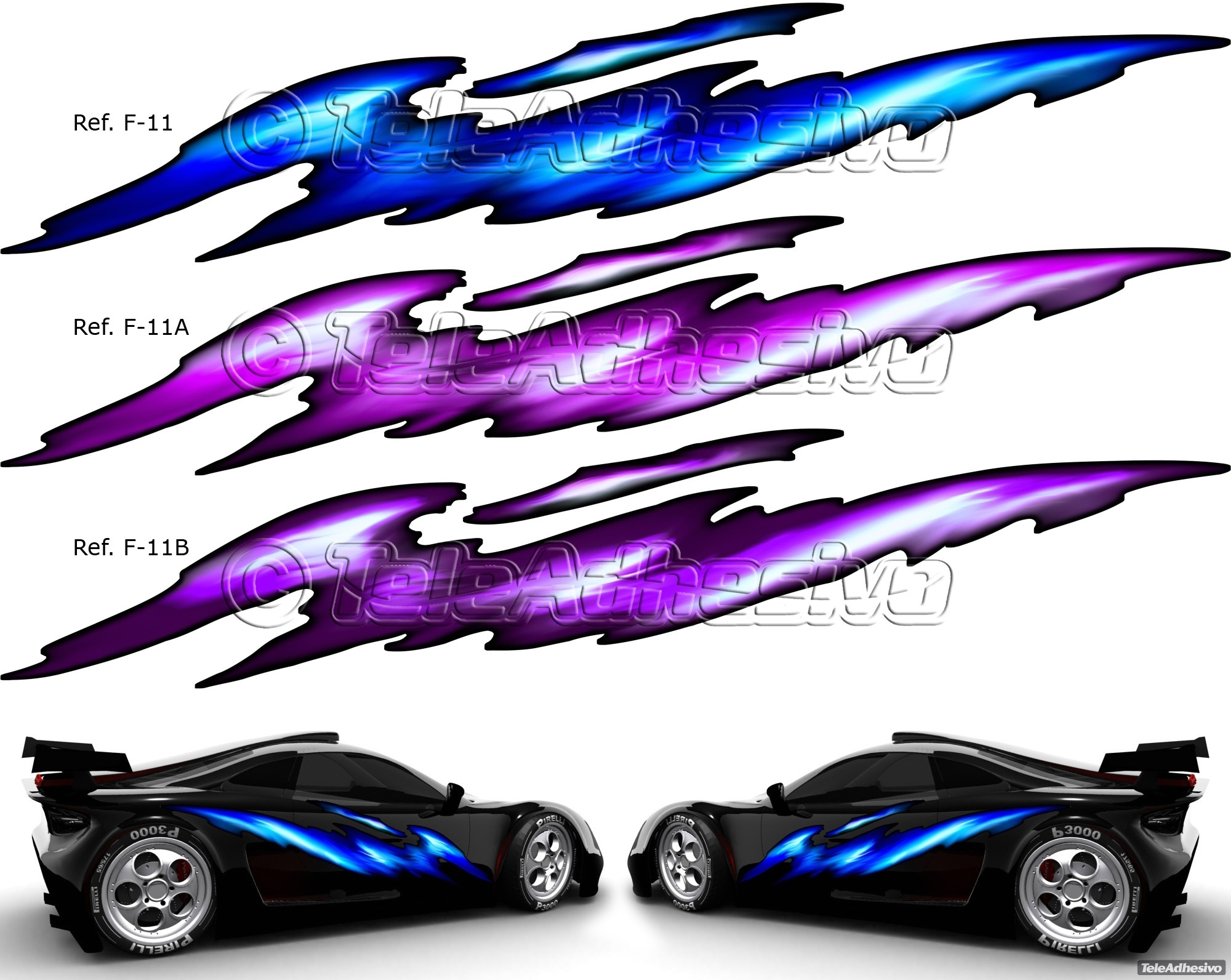 Vinilo adhesivo con rayos de colores para el tuning barato de vehículos