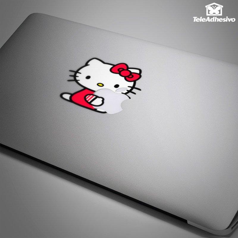 Hello Kitty es un diseño clásico de las pegatinas para portátiles.