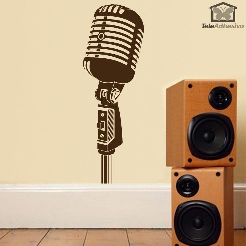 Vinilo adhesivo al estilo vintage con la imagen de un micrófono antiguo, ideal para decorar una casa