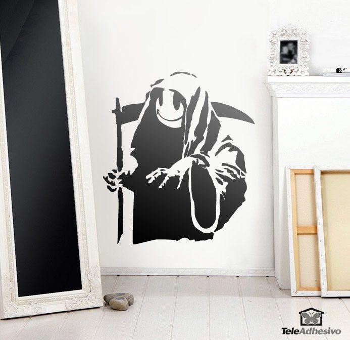 Vinilo adhesivo con la imagen del Happy Grim Reaper del artista urbano Banksy
