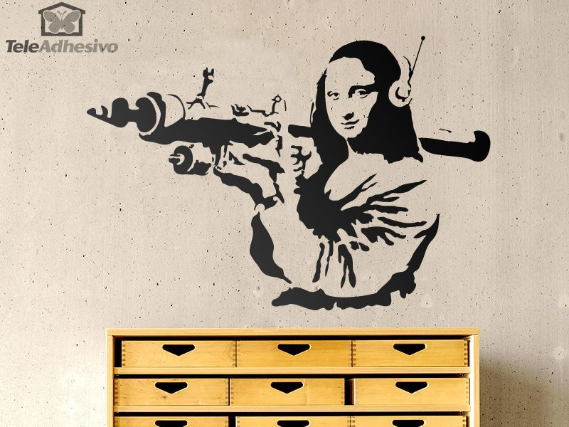 Vinilo adhesivo con la imagen de la Gioconda Terrorista del artista urbano Banksy