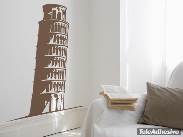 Un vinilo adhesivo con la imagen de la Torre de Pisa puede servir para la decoración de restaurantes.