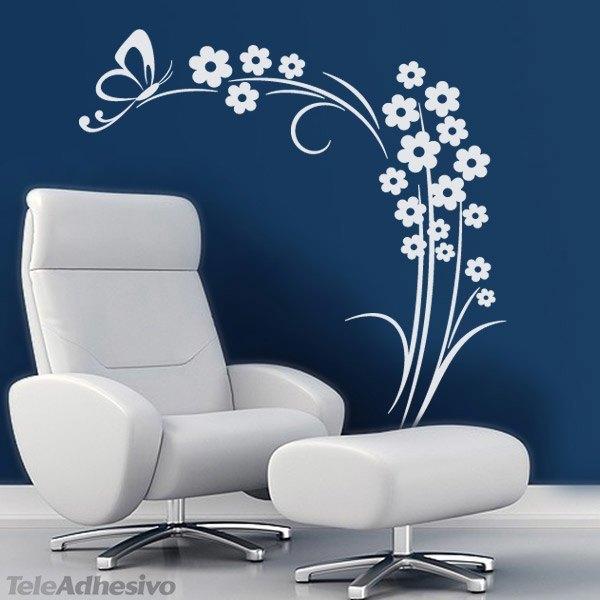 Vinilo adhesivo de decoración floral con fondo azul
