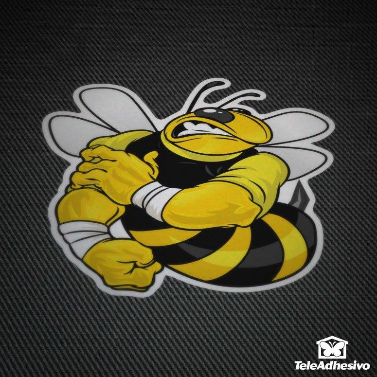 Pegatina de una abeja culturista para el tuning de tu moto.