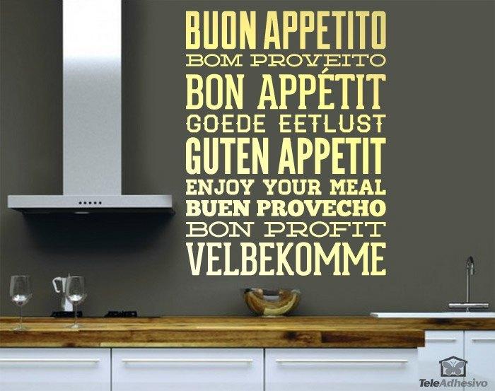 """Una vinilo con la frase """"buen apetito"""" traducidaa varios idiomas que es idela para decorar una cocina"""