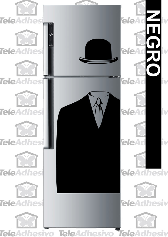 Nevera con vinilo de Magritte (manzana) - TeleAdhesivo