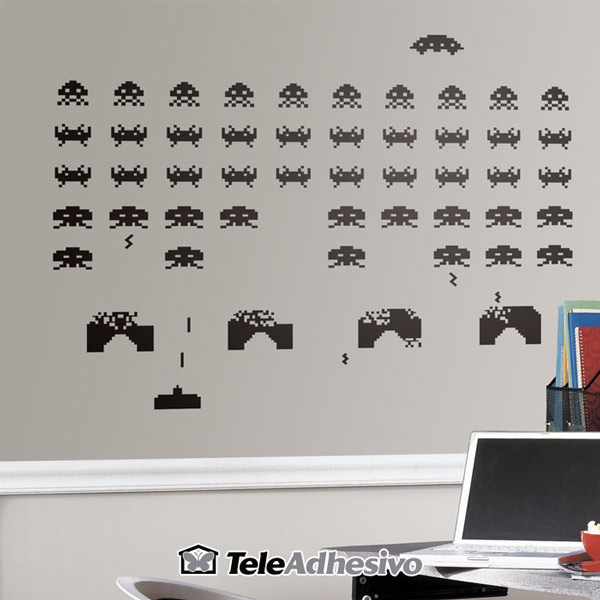 Vinilo pared Space Invaders