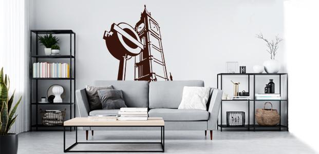 Vinilo decorativo de El Big Ben y una señal de metro. Dos elementos representativos de Londres.
