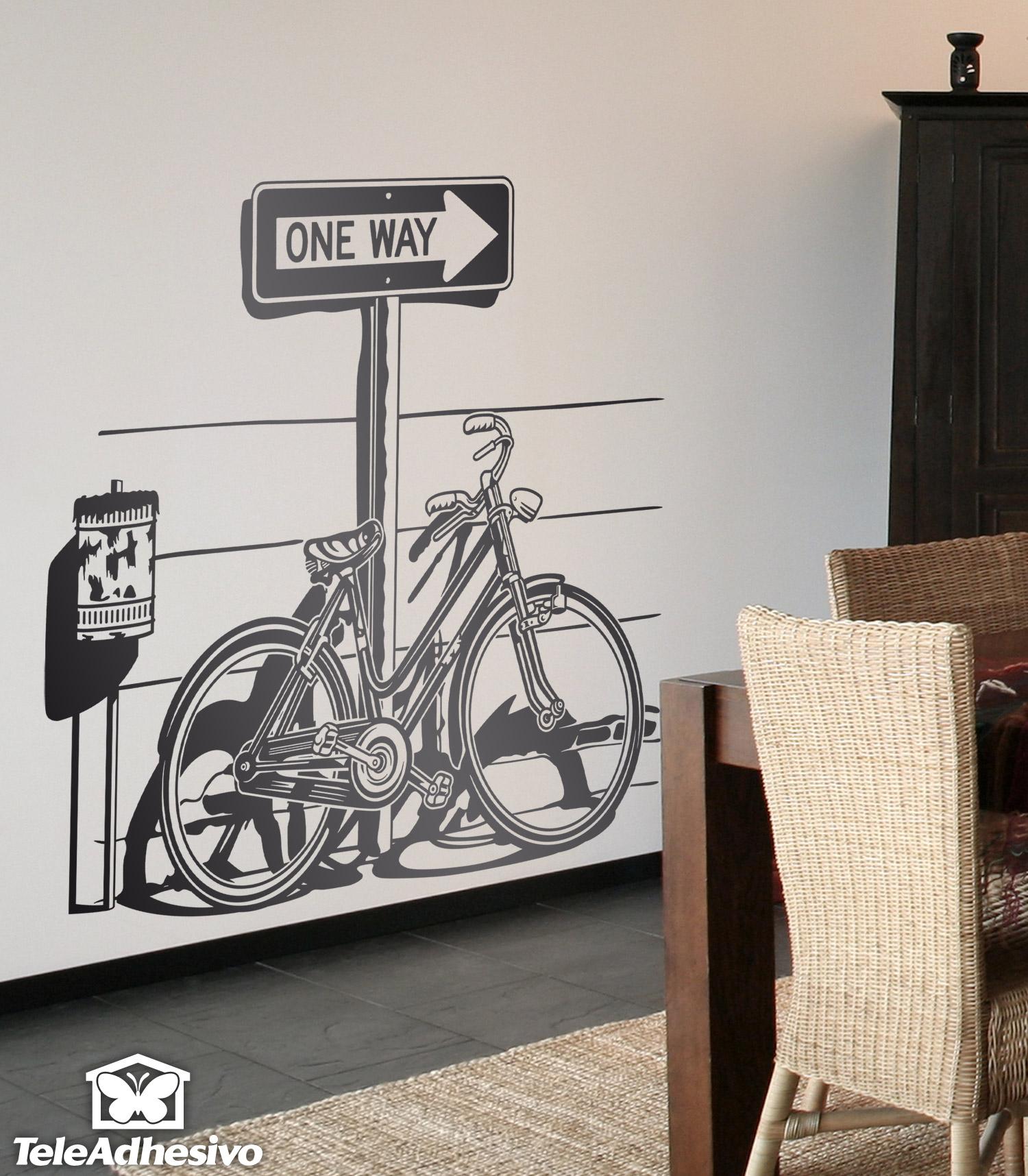 Deber as comenzar a utilizar una bicicleta en tu entrada for Vinilos decorativos para entradas