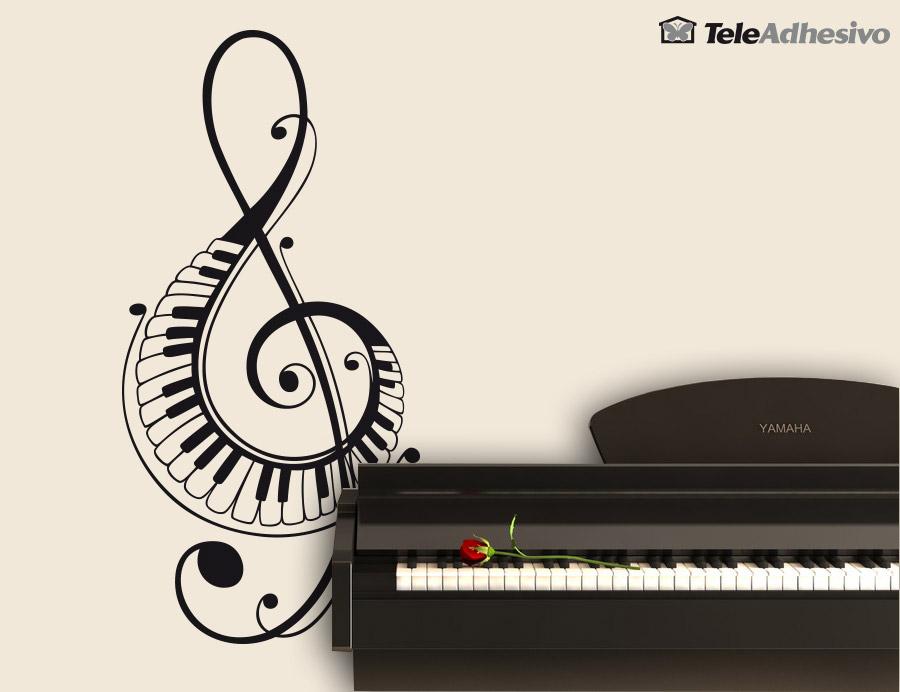 Vinilos Decorativos En Clave De Sol Con Teclas De Piano