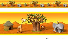 vinilos-infantiles-cenefa-animales-de-africa-