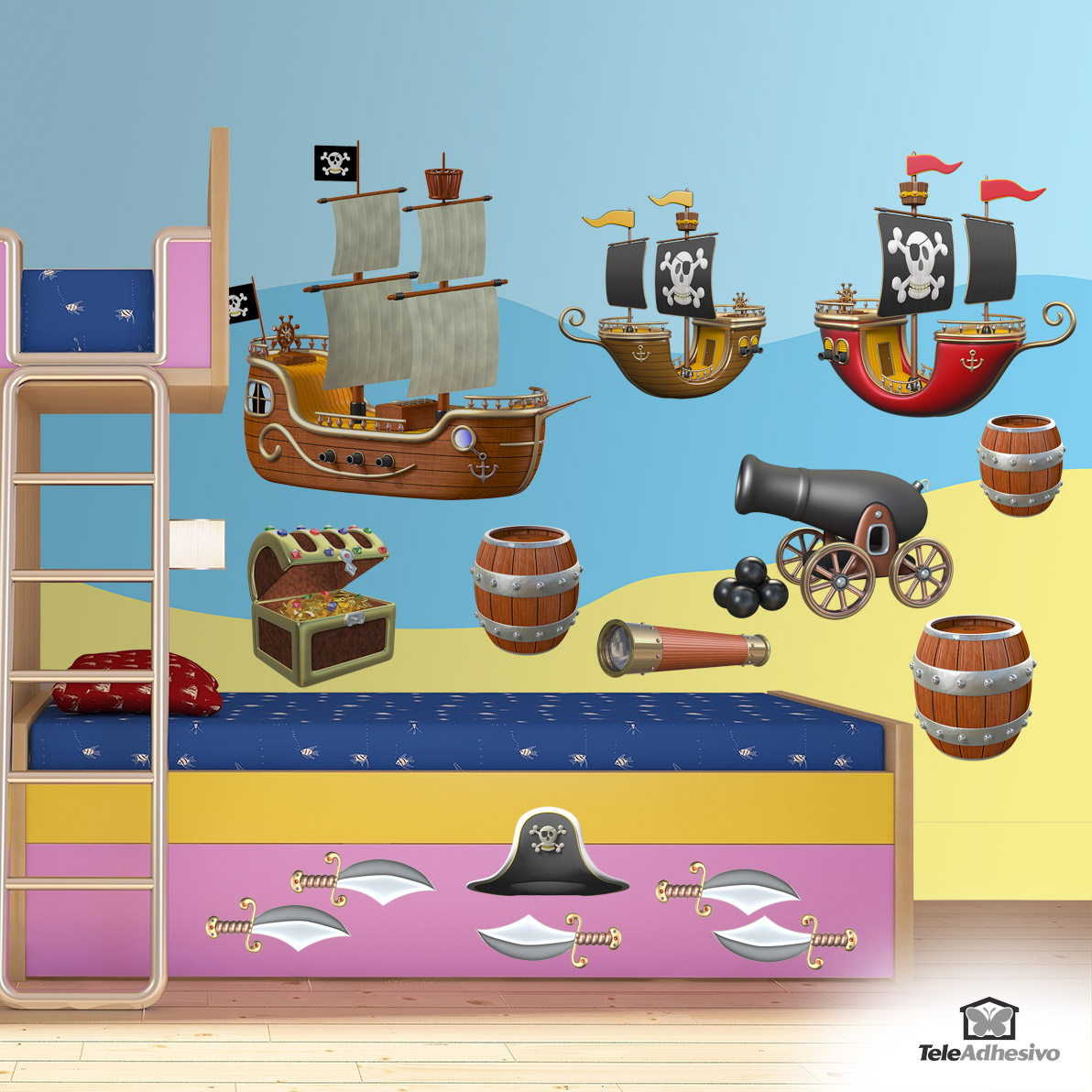 Vinilos infantiles de piratas blog teleadhesivo - Decoracion de barcos ...