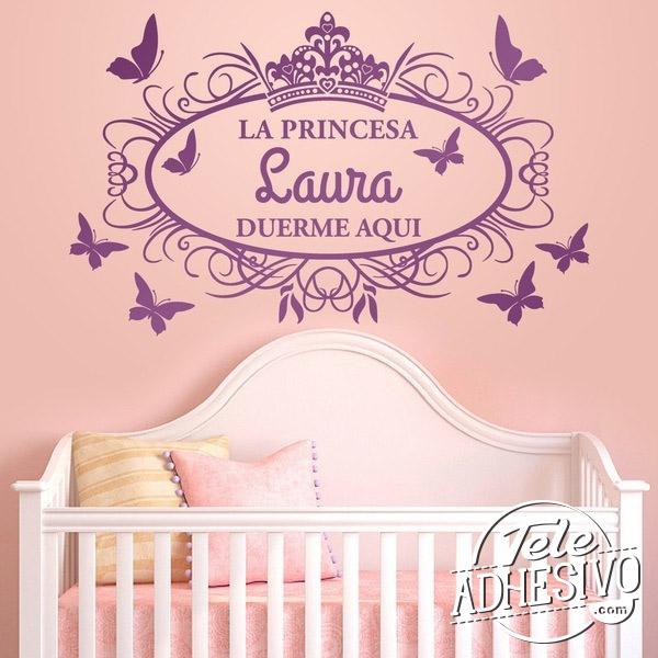 Vinilo nombre princesa para habitación infantil