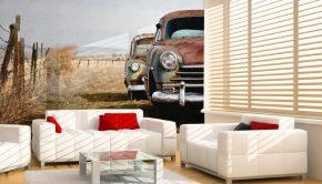 Vinilo adhesivo al estilo vintage con la imagen de coches antiguos ideal para decorar una casa