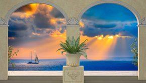Vinilo decorativo con la imagen de un trampantojo que muestra un atardecer en el mar.