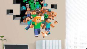 Vinilo adhesivo para la decoración de dormitorios que muestra la imagen del videojuego Minecraft.
