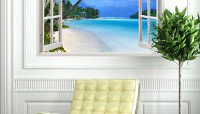Vinilo adhesivo para la decoración de dormitorios que muestra la imagen de una playa paradisíaca: Punta Cana