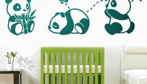 Vinilo adhesivo con la imagen de osos panda para la decoración de la habitación de tu bebé