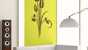 Vinilo adhesivo de decoración floral con fondo amarillo.