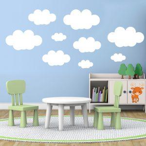 Vinilo adhesivo con la imagen de unas nubes que es un ejemplo de las últimas tendencias en decoración de escaparates.