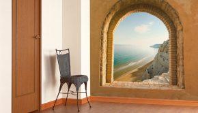 Vinilo adhesivo con la imagen de una ventana al mar.