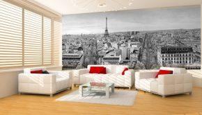 Fotomural con la imagen del skyline de Paris para la decoracion de un salon en blanco y negro