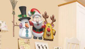 vinilos-decorativos-muneco-de-nieve-papa-noel-y-el-reno-rudolf
